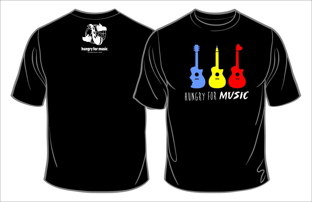 hungry for music guitar t shirt hungry for music. Black Bedroom Furniture Sets. Home Design Ideas