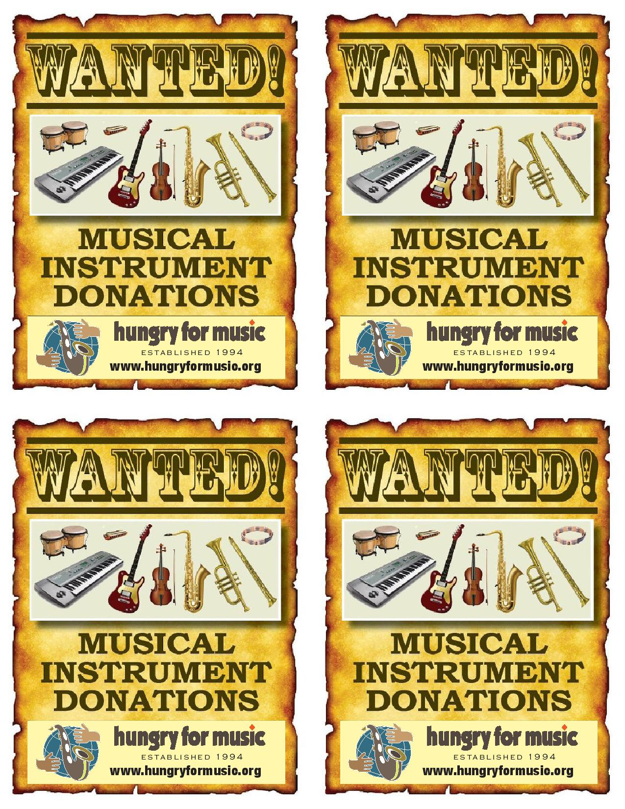 Hungry for Music Wanted Postcard Front